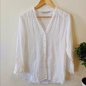 Zara button down linen blouse